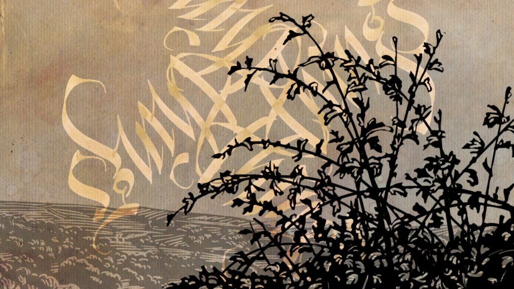 """Illustration of countryside with calligraphy pinwheel of the repeated word""""Things"""""""