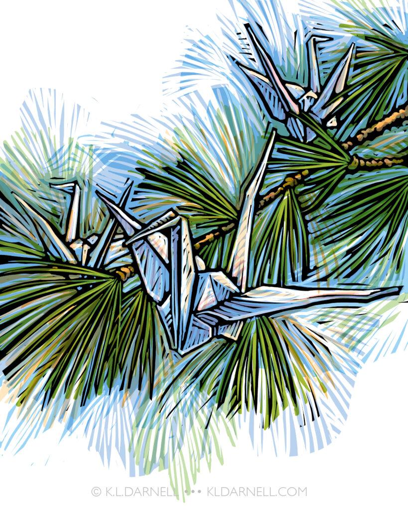 Origami paper cranes in a pine branch