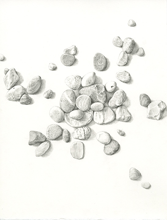 Pencil Drawing of scattered stones