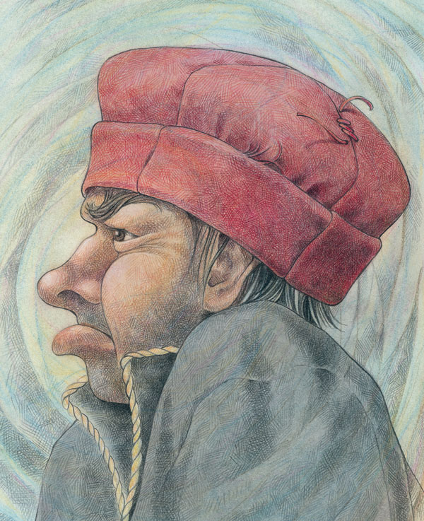 Grumpy man in profile with red hat. Drawn in colored pencil