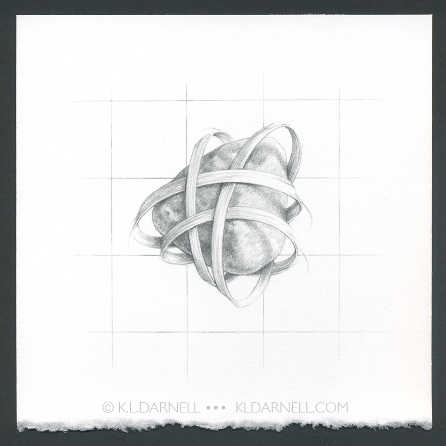 Pencil drawing of stone with woven grass around it