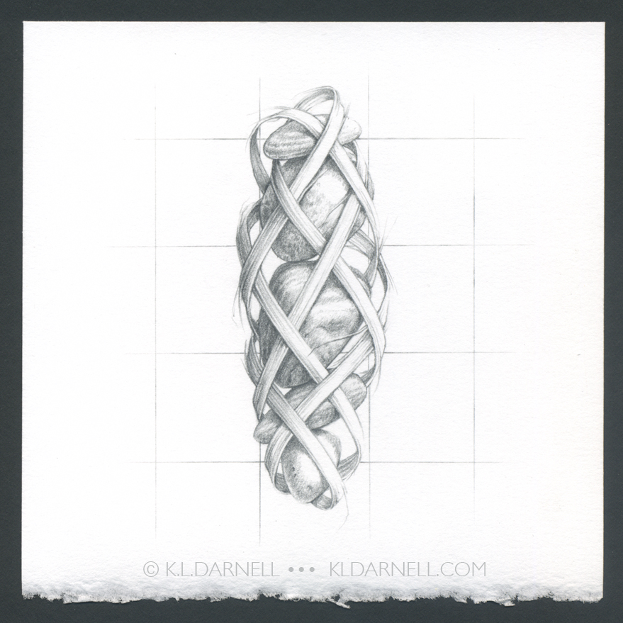 Pencil drawing of stones with woven grass around it