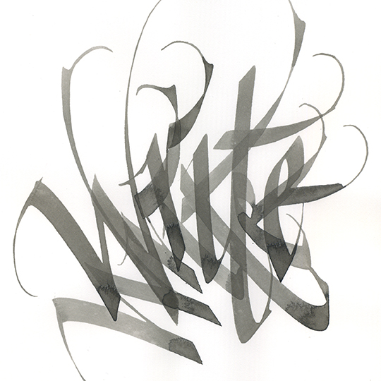 "Overlapping calligraphy inf washy black ink of word ""write"""